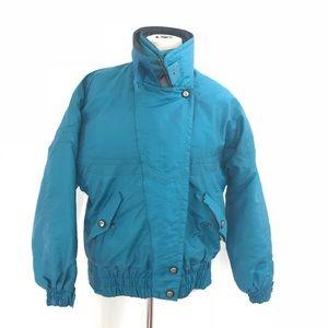 Vintage 1970s Cornice Teal Blue Ski Jacket Coat M